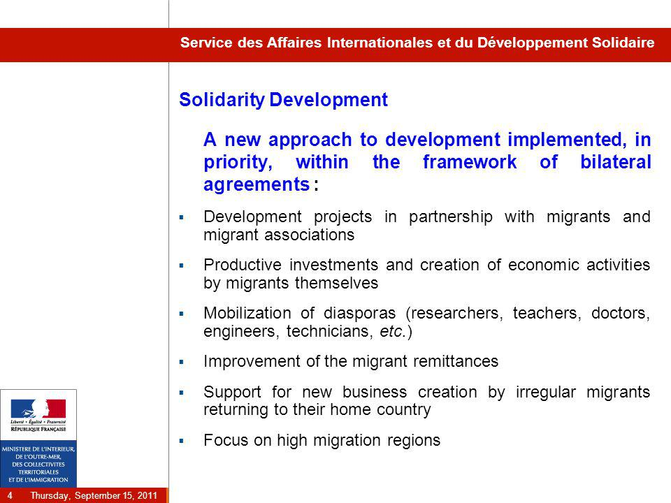 Thursday, September 15, 2011 5 Service des Affaires Internationales et du Développement Solidaire Solidarity Development in the Franco- Tunisian Agreement  30 M€ dedicated to development projects 2008-2011  A strong focus on vocational training :  Setting up of many training centers