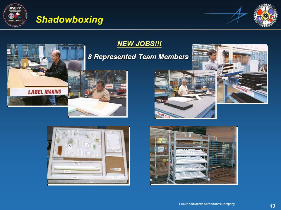 Lockheed Martin Aeronautics Company 13 Shadowboxing 8 Represented Team Members NEW JOBS!!!