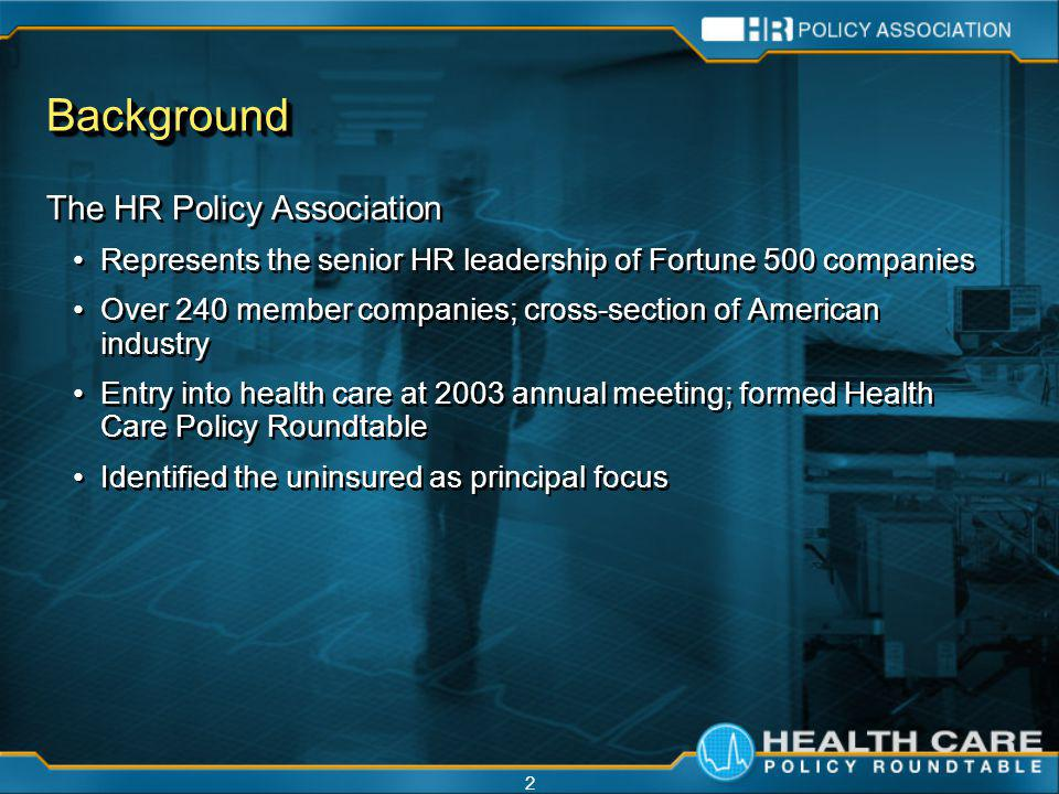2 BackgroundBackground The HR Policy Association Represents the senior HR leadership of Fortune 500 companies Over 240 member companies; cross-section of American industry Entry into health care at 2003 annual meeting; formed Health Care Policy Roundtable Identified the uninsured as principal focus The HR Policy Association Represents the senior HR leadership of Fortune 500 companies Over 240 member companies; cross-section of American industry Entry into health care at 2003 annual meeting; formed Health Care Policy Roundtable Identified the uninsured as principal focus