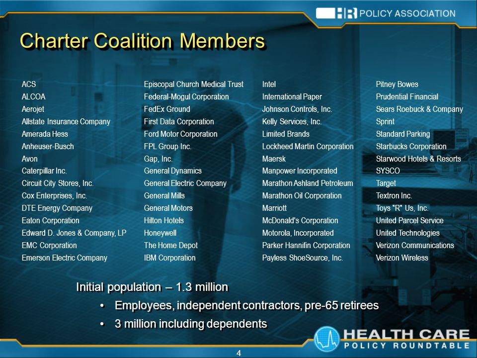 4 Charter Coalition Members Initial population – 1.3 million Employees, independent contractors, pre-65 retirees 3 million including dependents Initial population – 1.3 million Employees, independent contractors, pre-65 retirees 3 million including dependents ACS ALCOA Aerojet Allstate Insurance Company Amerada Hess Anheuser-Busch Avon Caterpillar Inc.