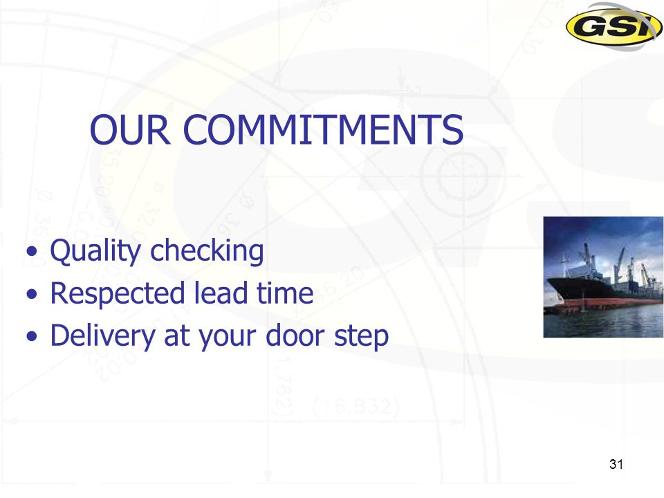 31 Quality checking Respected lead time Delivery at your door step OUR COMMITMENTS