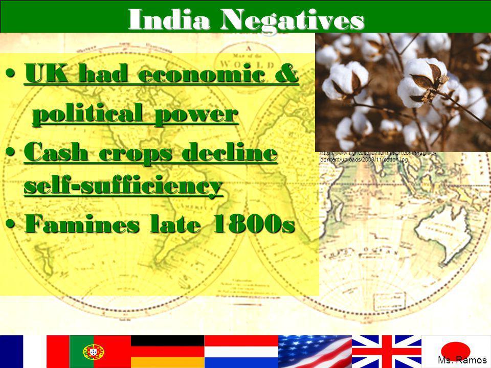 India Negatives UK had economic &UK had economic & political power political power Cash crops decline self-sufficiencyCash crops decline self-sufficie