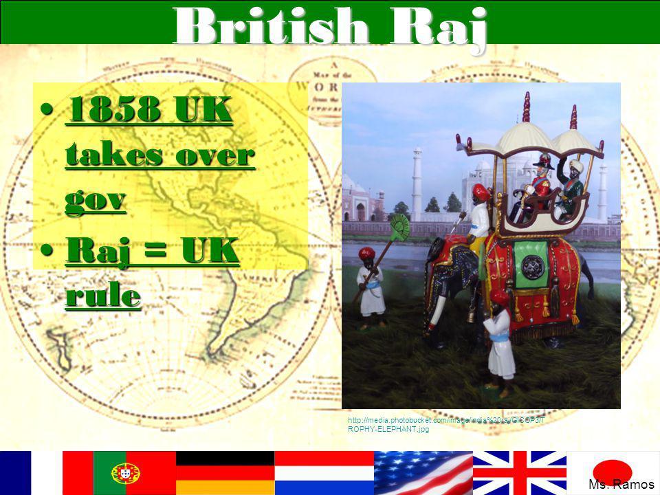 British Raj 1858 UK takes over gov1858 UK takes over gov Raj = UK ruleRaj = UK rule http://media.photobucket.com/image/india%20raj/GICOP3/T ROPHY-ELEP