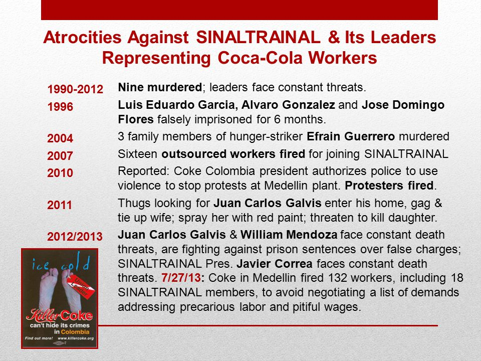 Atrocities Against SINALTRAINAL & Its Leaders Representing Coca-Cola Workers Nine murdered; leaders face constant threats.