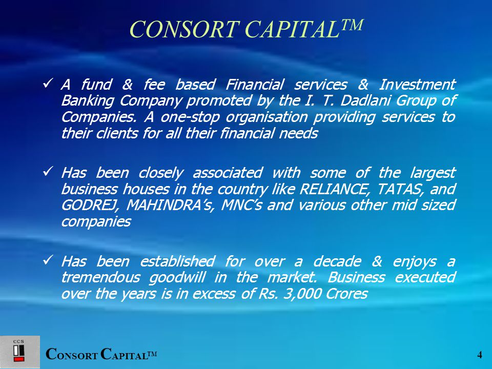 C ONSORT C APITAL TM 15 Financial Engineering Financial engineering refers to the application of various techniques in structuring the financial statements It is also the use of financial instruments such as derivatives, forwards, futures, swaps, options and related products to restructure or rearrange cash flows in order to achieve particular financial goals & mitigate financial risk
