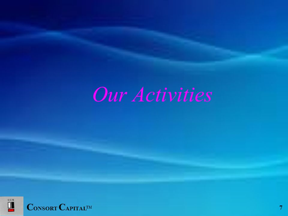 C ONSORT C APITAL TM 8 CORPORATE FINANCE INSURANCE INVESTMENT BANKING DERIVATIVES MUTUAL FUNDS Our Activities