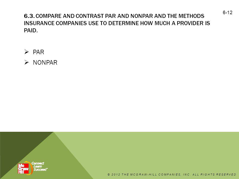 6.3. COMPARE AND CONTRAST PAR AND NONPAR AND THE METHODS INSURANCE COMPANIES USE TO DETERMINE HOW MUCH A PROVIDER IS PAID.  PAR  NONPAR © 2012 THE M