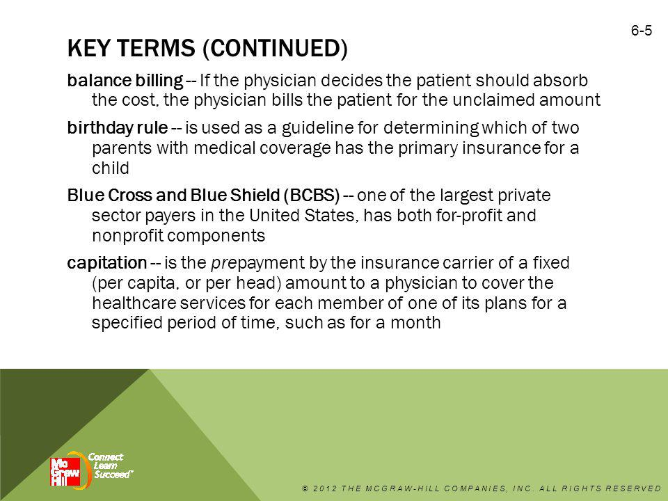 KEY TERMS (CONTINUED) balance billing -- If the physician decides the patient should absorb the cost, the physician bills the patient for the unclaime