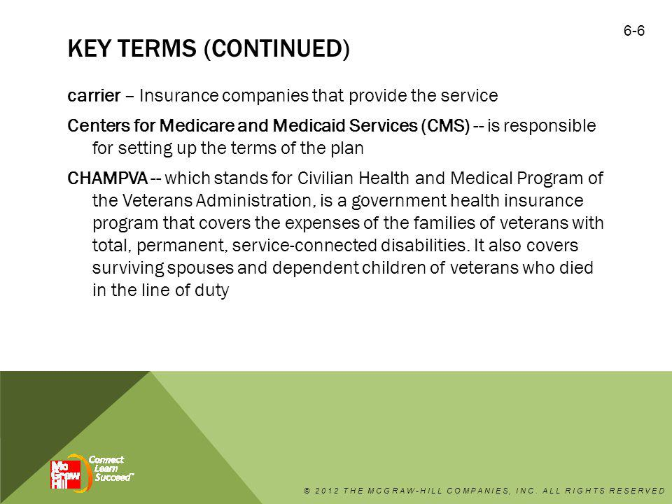 KEY TERMS (CONTINUED) carrier – Insurance companies that provide the service Centers for Medicare and Medicaid Services (CMS) -- is responsible for se