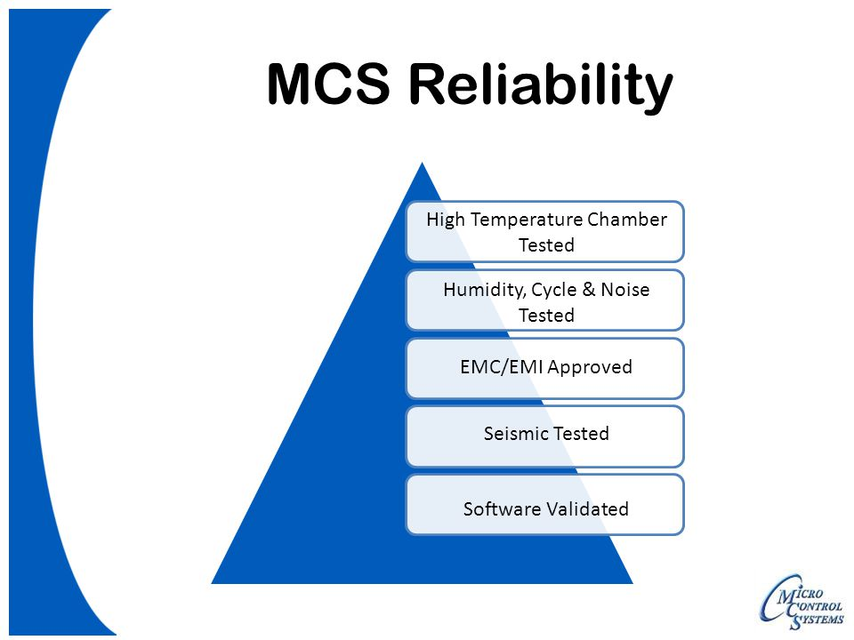 MCS Reliability Seismic Tested EMC/EMI Approved Software Validated Humidity, Cycle & Noise Tested High Temperature Chamber Tested