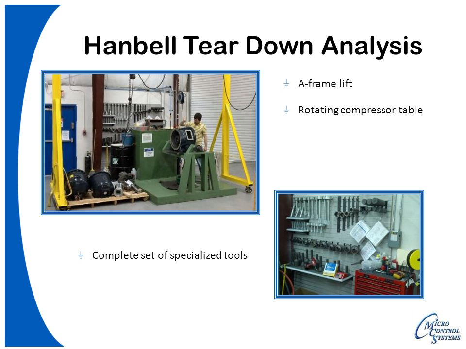 Hanbell Tear Down Analysis A-frame lift Rotating compressor table Complete set of specialized tools
