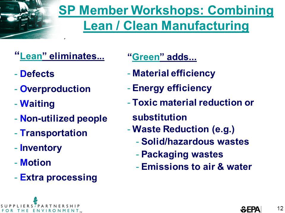 12 SP Member Workshops: Combining Lean / Clean Manufacturing Lean eliminates...