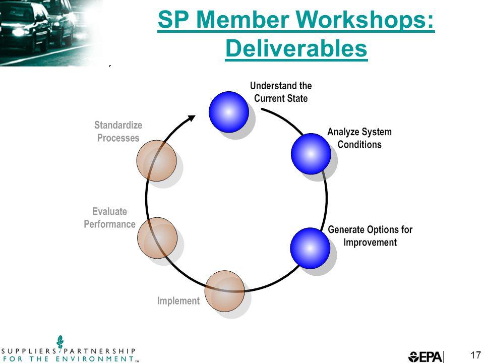 17 SP Member Workshops: Deliverables