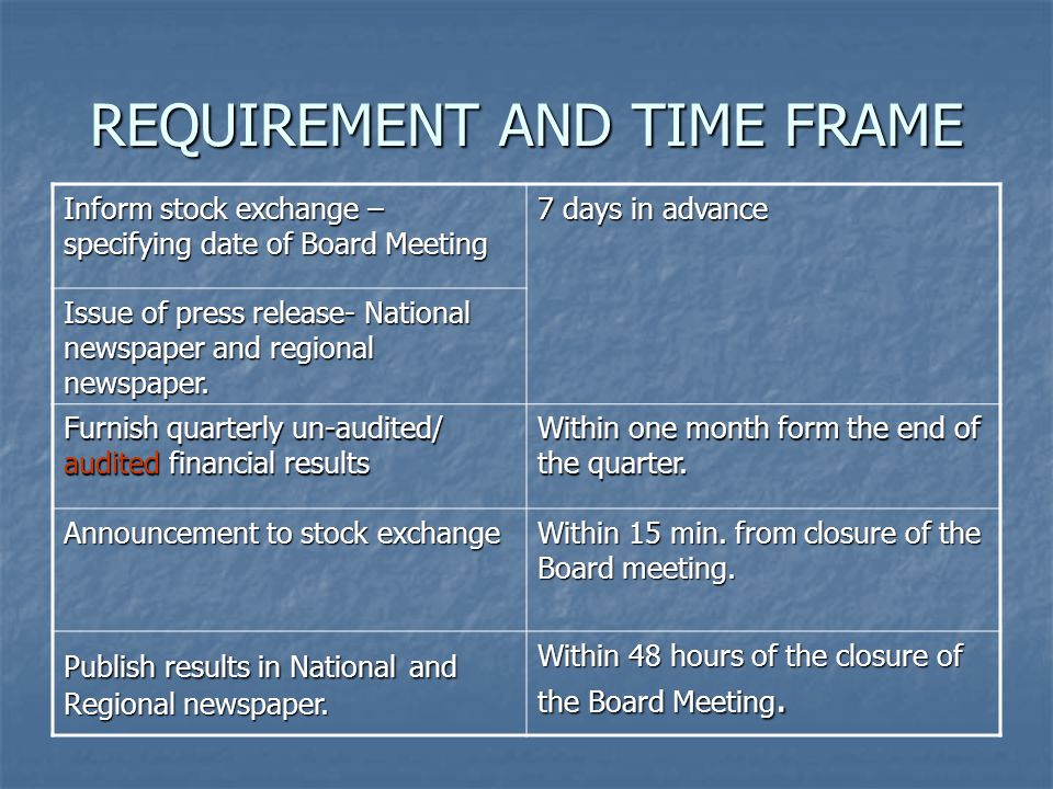 REQUIREMENT AND TIME FRAME Inform stock exchange – specifying date of Board Meeting 7 days in advance Issue of press release- National newspaper and r