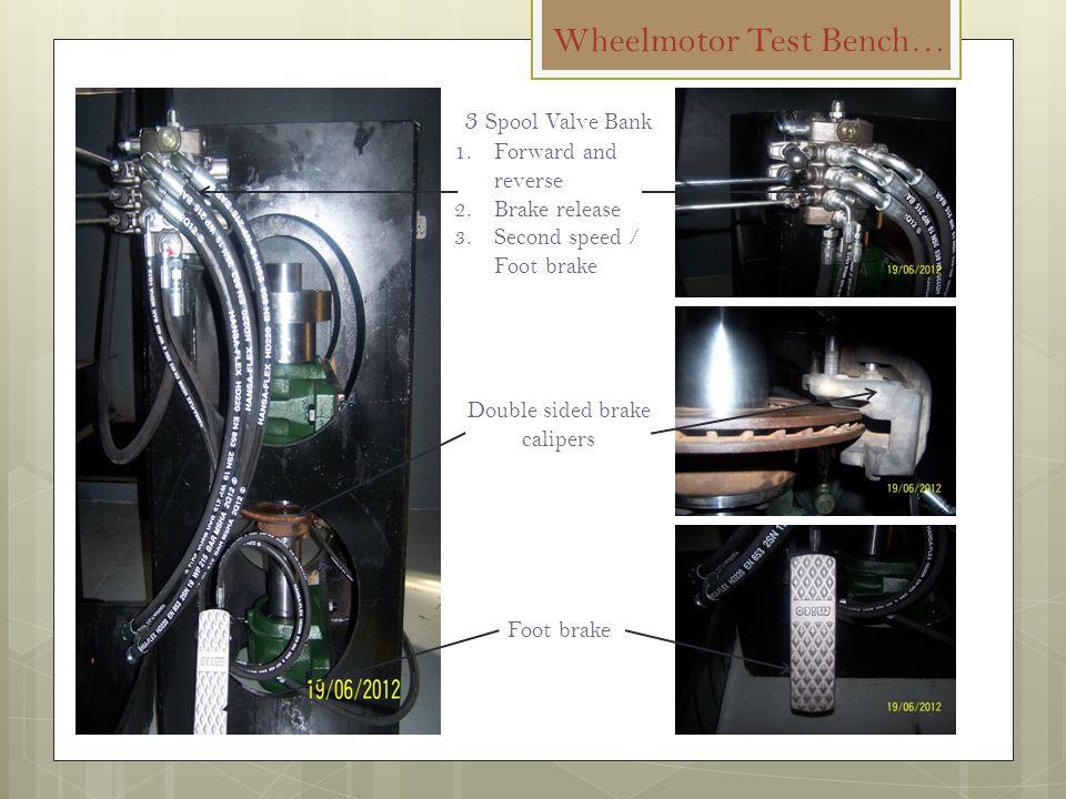 Wheelmotor Test Bench… 3 Spool Valve Bank 1.Forward and reverse 2.Brake release 3.Second speed / Foot brake Double sided brake calipers Foot brake