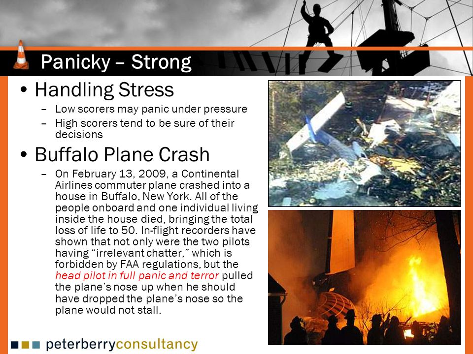 Panicky – Strong Handling Stress –Low scorers may panic under pressure –High scorers tend to be sure of their decisions Buffalo Plane Crash –On February 13, 2009, a Continental Airlines commuter plane crashed into a house in Buffalo, New York.
