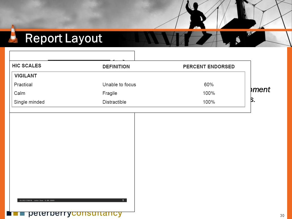 30 Report Layout Provides areas of development based on subscale scores.