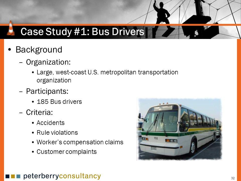 32 Case Study #1: Bus Drivers Background –Organization: Large, west-coast U.S.
