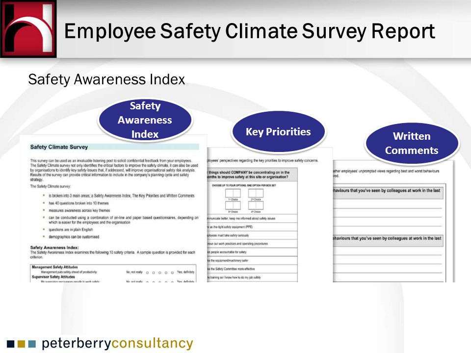 Employee Safety Climate Survey Report Safety Awareness Index Key Priorities Written Comments