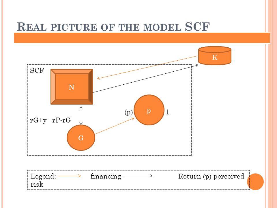 R EAL PICTURE OF THE MODEL SCF N K G p SCF (p) 1 rG+y rP-rG Legend: financing Return (p) perceived risk