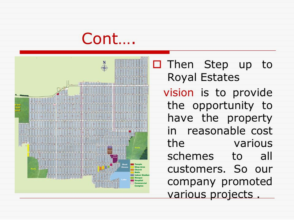 Cont….  Then Step up to Royal Estates vision is to provide the opportunity to have the property in reasonable cost the various schemes to all custome