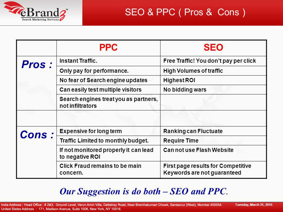 SEO & PPC ( Pros & Cons ) PPCSEO Pros : Instant Traffic.Free Traffic.
