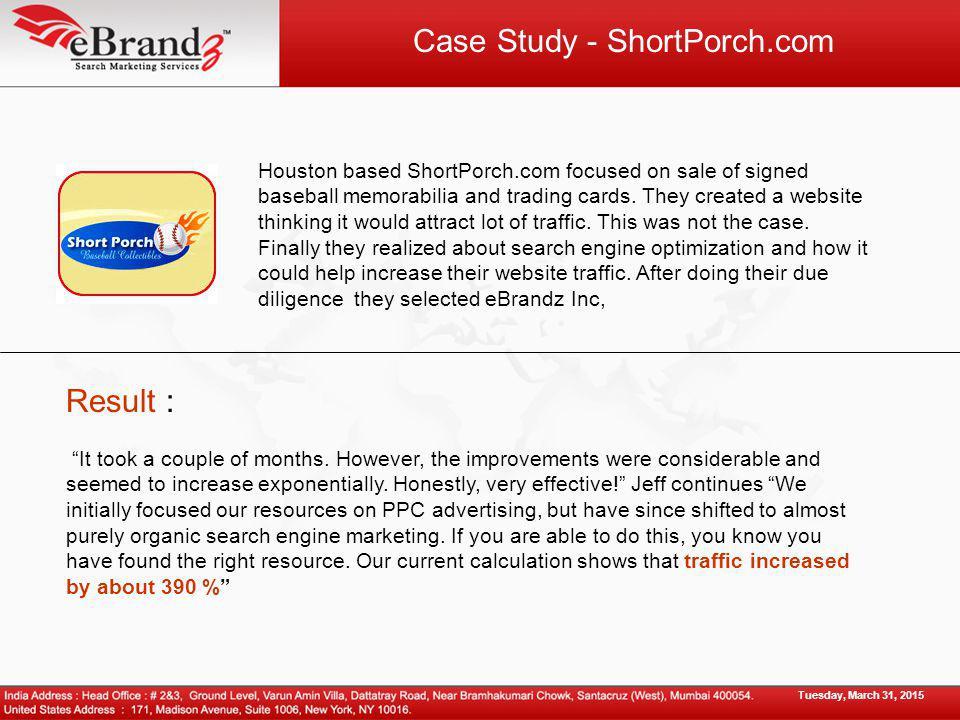 Case Study - ShortPorch.com Houston based ShortPorch.com focused on sale of signed baseball memorabilia and trading cards.