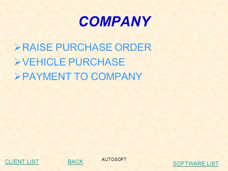 AUTOSOFT ACCOUNTS  DAILY POSTING OF CASH JOB CARDS  RECEIPT FOR CREDIT JOB CARDS  VOUCHERS  LINK WITH PURCHASE  LINK WITH COUNTER SALES  RECEIVABLES FOR JOB CARD AND COUNTER SALES BACKCLIENT LIST SOFTWARE LIST