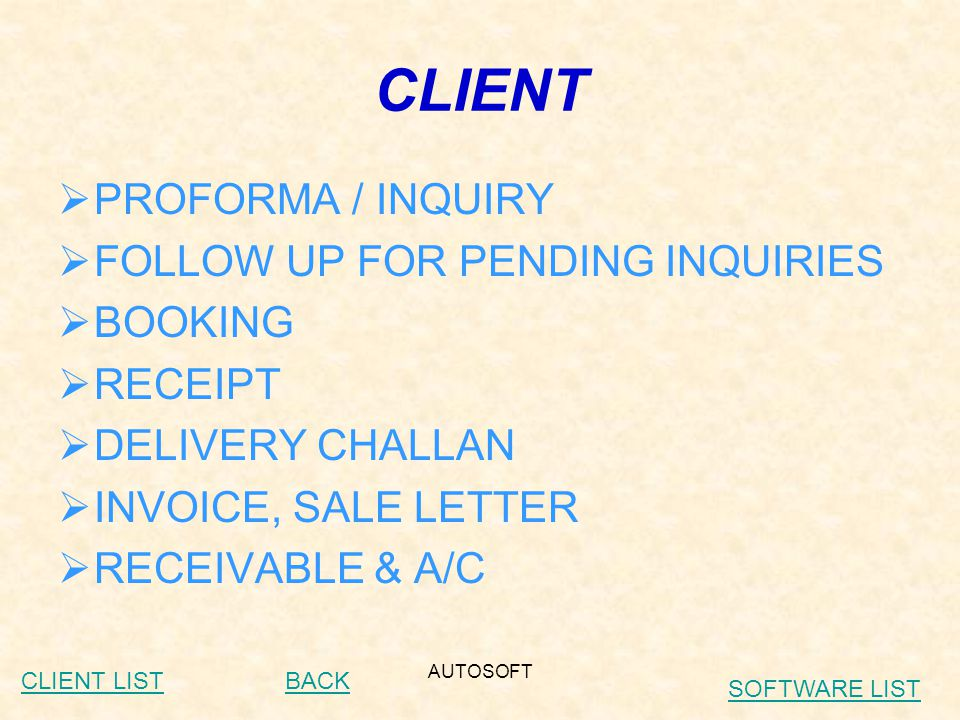 AUTOSOFT PURCHASE  RAISE P.O.  PURCHASE  LINK WITH A/C AND STOCK BACK CLIENT LIST SOFTWARE LIST