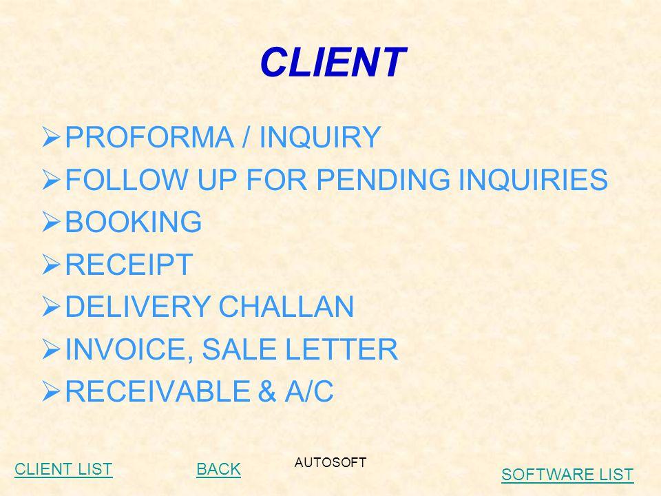 AUTOSOFT CLIENT LIST (HERO HONDA)  Out Side Gujara Installation :  Chhattishgadh (Authorized Services Dealer) Aishwariya Motors – Bhilai (Authorized Services Dealer) AarSon Motors – Raipur (Authorized Services Dealer) Indian Sales – Bhilai (Authorized Services Dealer) Vizpal Automobiles – Jagdalpur (Authorized Services Dealer) Jai Motor – Rajnandgaon (Authorized Services Dealer)  Maharashtra Chavan Automobiles – Solapura (Authorised Dealer) Pratibha motor – Osamanabadab (Authorised Dealer) Baheti Automobiles – Akola (Authorised Dealer) Parvati Automobiles – Yavatmal (Authorised Dealer) City/Pratham Motors- Pune (Authorised Dealer) City/Pratham Motors- Pune (Authorised Services Dealer) Sunil Auto – Dapoli (Authorised Services Dealer)