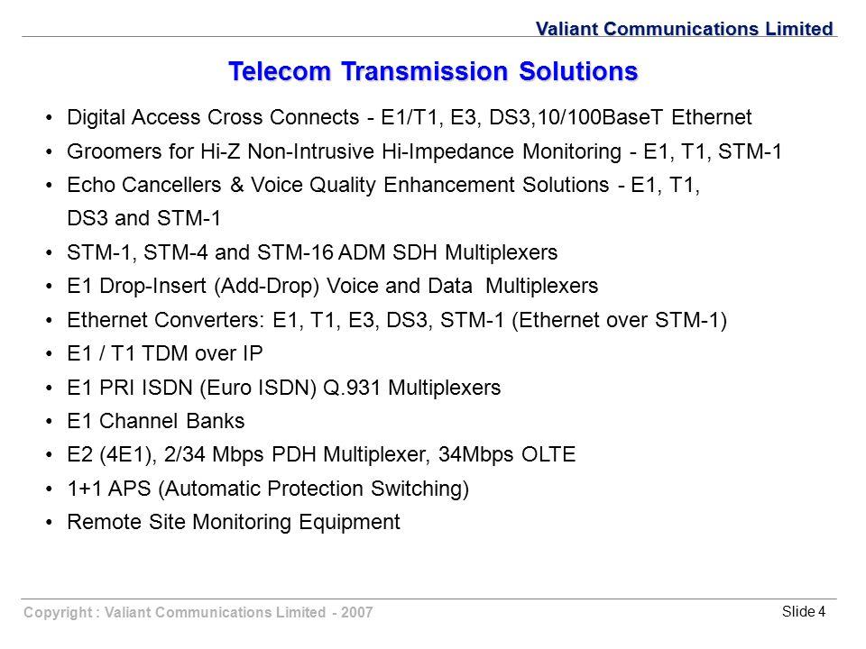 Copyright : Valiant Communications Limited - 2007Slide 4 Valiant Communications Limited Digital Access Cross Connects - E1/T1, E3, DS3,10/100BaseT Eth
