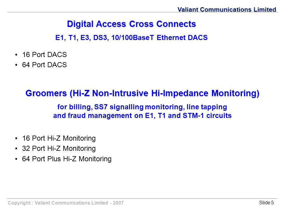 Copyright : Valiant Communications Limited - 2007Slide 5 Valiant Communications Limited Digital Access Cross Connects E1, T1, E3, DS3, 10/100BaseT Eth