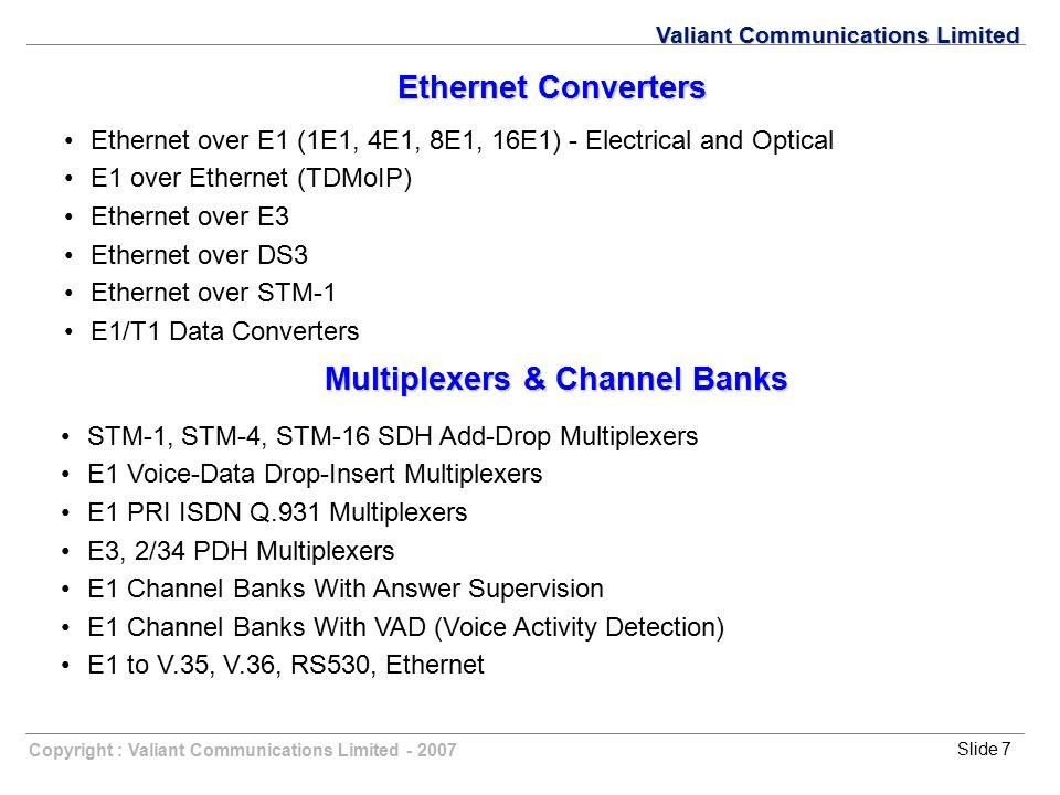 Copyright : Valiant Communications Limited - 2007Slide 7 Valiant Communications Limited Ethernet Converters Ethernet over E1 (1E1, 4E1, 8E1, 16E1) - E