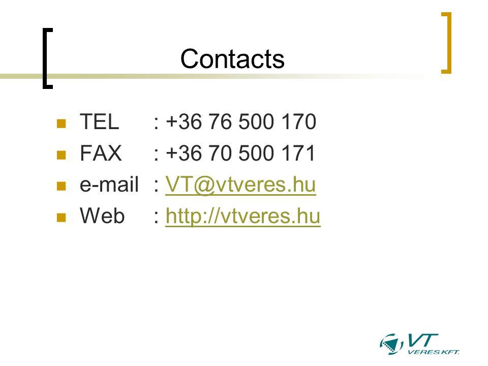 Contacts TEL : +36 76 500 170 FAX : +36 70 500 171 e-mail: VT@vtveres.huVT@vtveres.hu Web : http://vtveres.huhttp://vtveres.hu