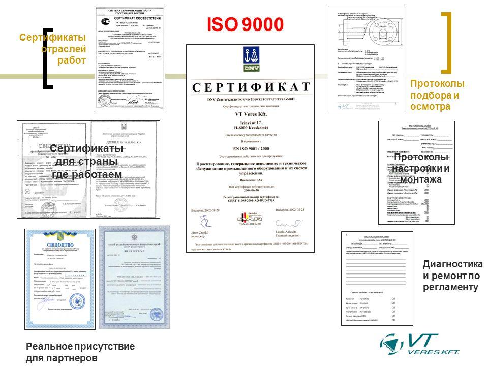 Сертификаты отраслей работ Сертификаты для страны где работаем Реальное присутствие для партнеров Протоколы подбора и осмотра Протоколы настройки и монтажа ISO 9000 Диагностика и ремонт по регламенту