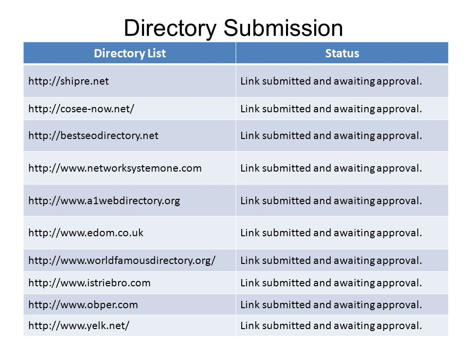 Directory Submission Directory ListStatus http://shipre.netLink submitted and awaiting approval.