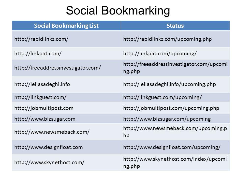 Social Bookmarking Social Bookmarking ListStatus http://rapidlinkz.com/http://rapidlinkz.com/upcoming.php http://linkpat.com/http://linkpat.com/upcoming/ http://freeaddressinvestigator.com/ http://freeaddressinvestigator.com/upcomi ng.php http://leilasadeghi.infohttp://leilasadeghi.info/upcoming.php http://linkguest.com/http://linkguest.com/upcoming/ http://jobmultipost.comhttp://jobmultipost.com/upcoming.php http://www.bizsugar.comhttp://www.bizsugar.com/upcoming http://www.newsmeback.com/ http://www.newsmeback.com/upcoming.p hp http://www.designfloat.comhttp://www.designfloat.com/upcoming/ http://www.skynethost.com/ http://www.skynethost.com/index/upcomi ng.php