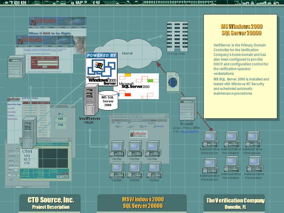 CTO Source, Inc. Project Description The Verification Company Dunedin, FL MS Windows 2000 SQL Server 20000 VerifServer is the Primary Domain Controlle