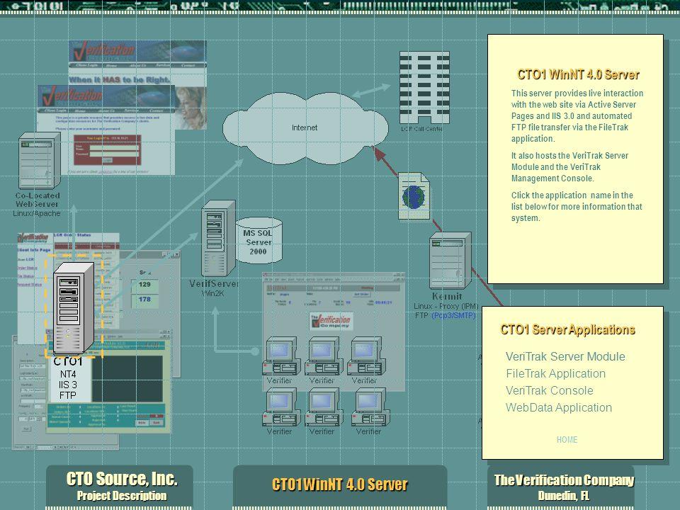 CTO Source, Inc. Project Description The Verification Company Dunedin, FL CTO1 WinNT 4.0 Server This server provides live interaction with the web sit