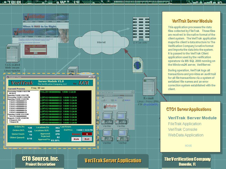 CTO Source, Inc. Project Description The Verification Company Dunedin, FL VeriTrak Server Application VeriTrak Server Module This application processe