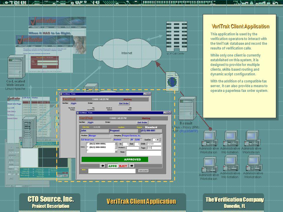 CTO Source, Inc. Project Description The Verification Company Dunedin, FL VeriTrak Client Application This application is used by the verification ope