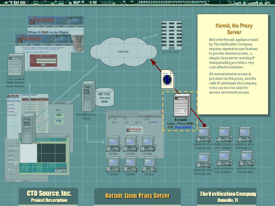 CTO Source, Inc. Project Description The Verification Company Dunedin, FL Kermit: Linux Proxy Server Kermit, the Proxy Server Since the firewall appli