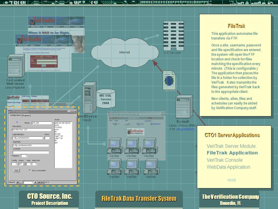 CTO Source, Inc. Project Description The Verification Company Dunedin, FL FileTrak Data Transfer System FileTrak This application automates file trans