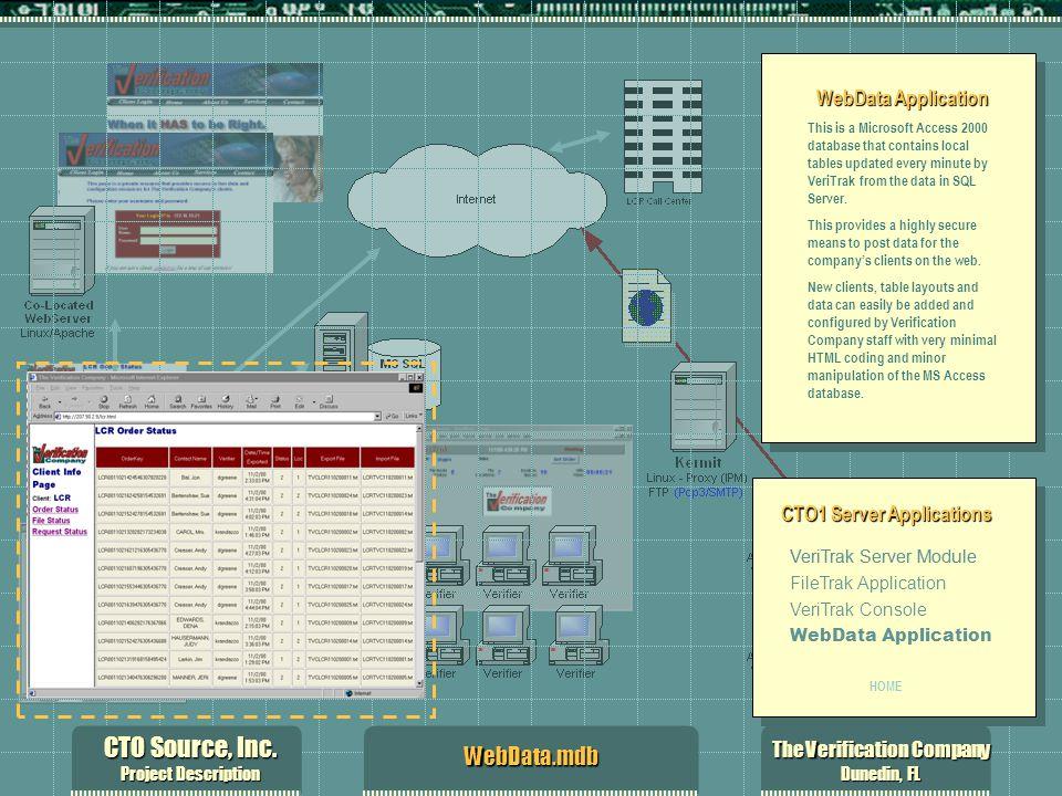 CTO Source, Inc. Project Description The Verification Company Dunedin, FL WebData.mdb WebData Application This is a Microsoft Access 2000 database tha