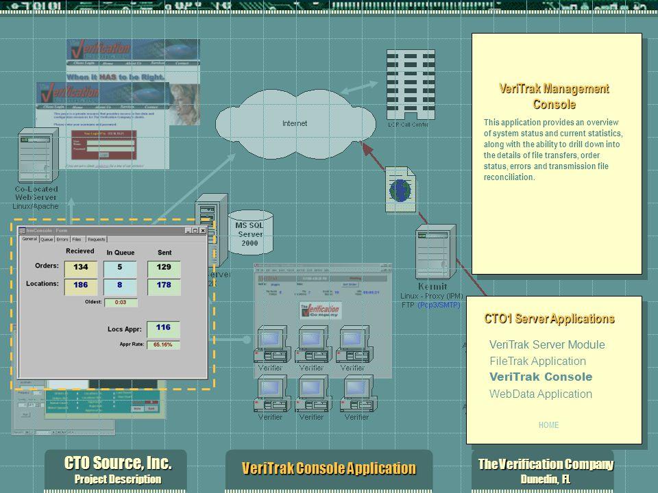 CTO Source, Inc. Project Description The Verification Company Dunedin, FL VeriTrak Console Application VeriTrak Management Console This application pr