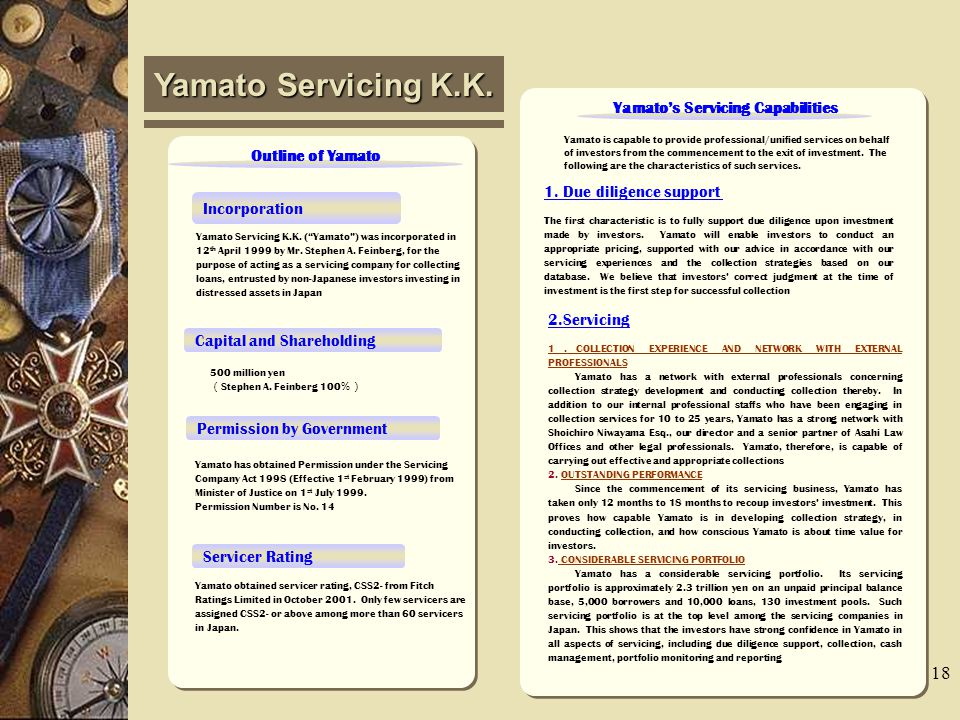 17 Outline of Yamato Servicing K.K.