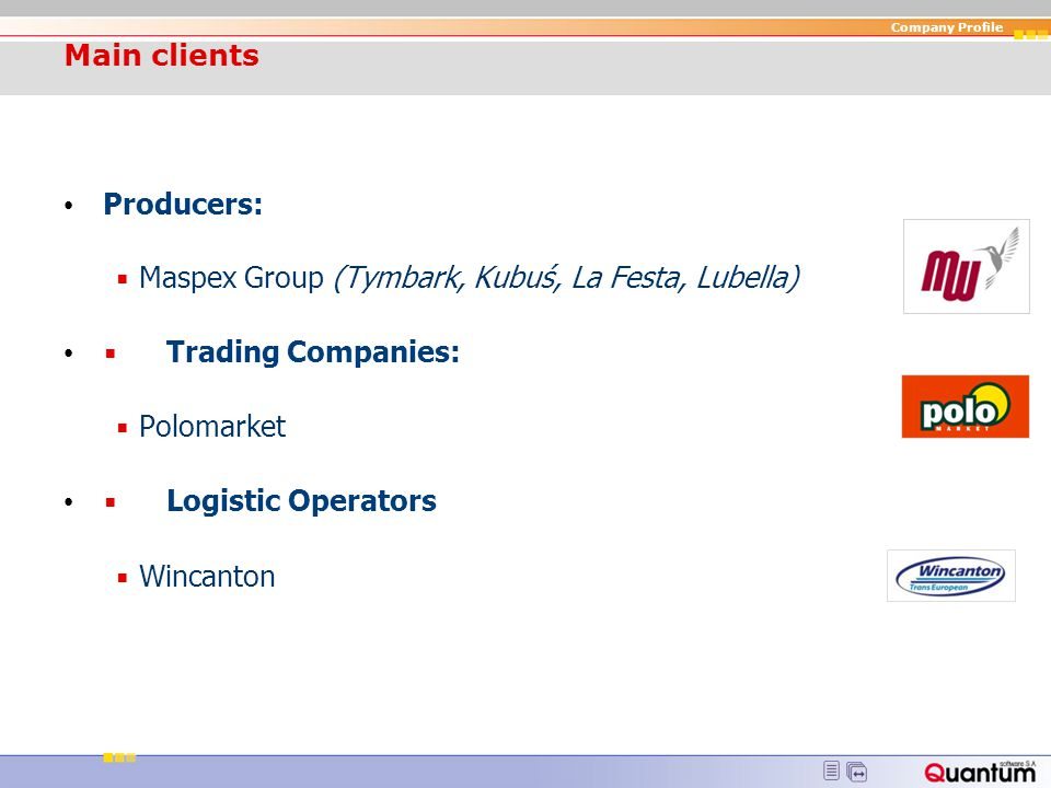 Company Profile Selected Clients