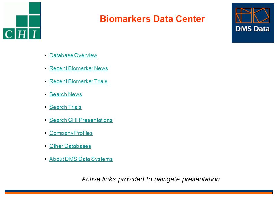 Company Profiles Page expanded profile Click to retrieve biomarker news related to company Number represents biomarker news issued by company Link to company web-site Biomarkers Data Center Company Profiles tab provides access to over 600 companies focused on Biomarkers.