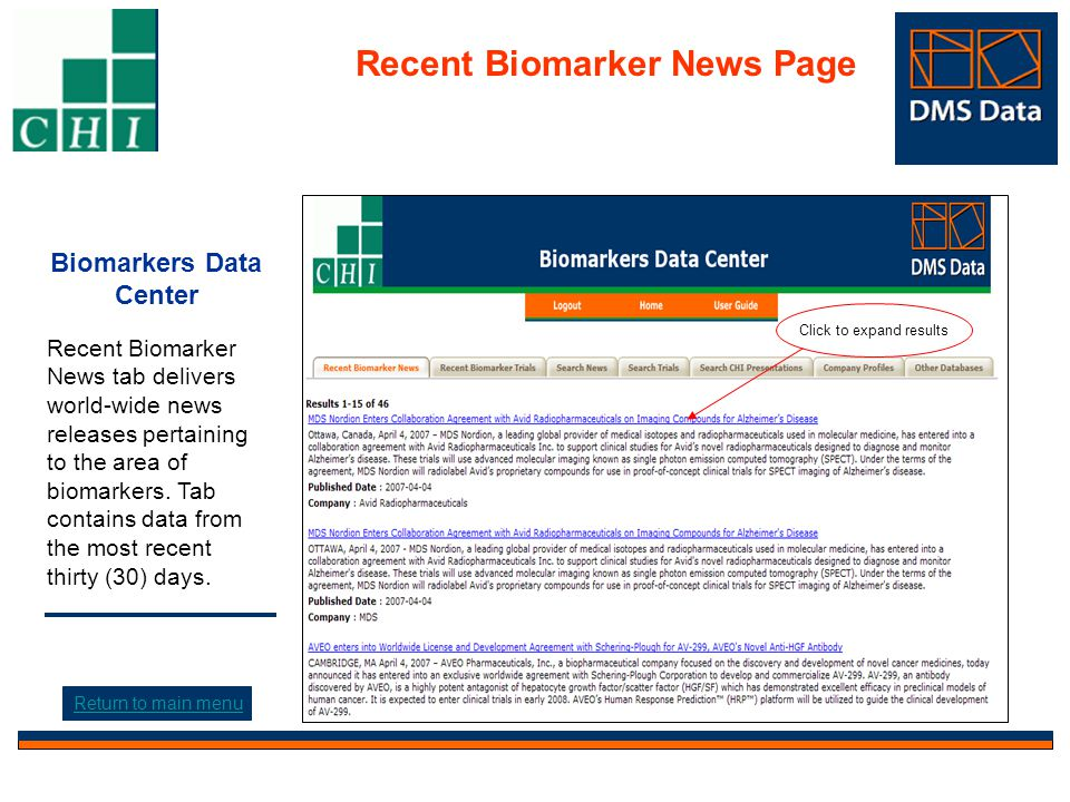 Biomarkers Data Center Recent Biomarker News tab delivers world-wide news releases pertaining to the area of biomarkers.