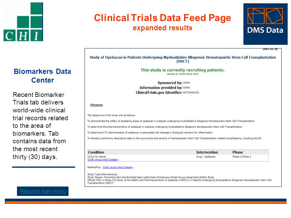 Search News Page Click to expand results Biomarkers Data Center Search News tab contains recent news from the last week and provides search options that include: free text, content type, clinical areas, and date.